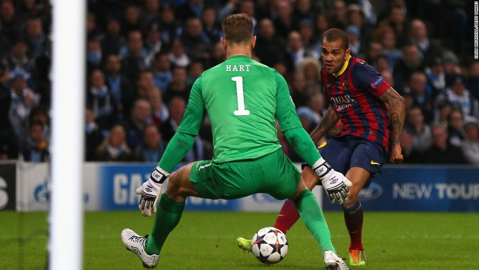 Daniel Alves perhaps wraps up the tie at the halfway stage as Barca score their second of the night, meaning City need to score at least twice in Spain.