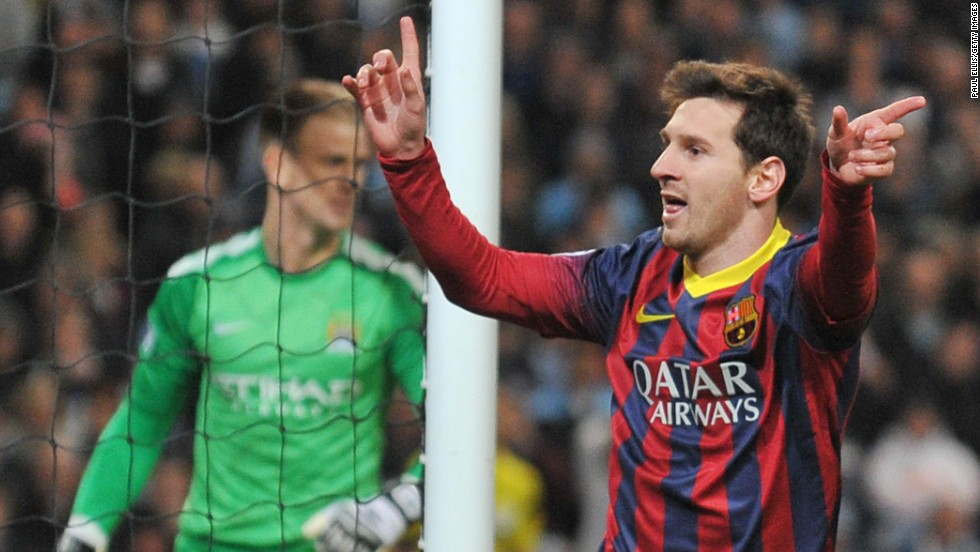 Lionel Messi celebrates after making the breakthrough at Manchester City from the penalty spot. Messi now has seven goals in this season's Champions League.
