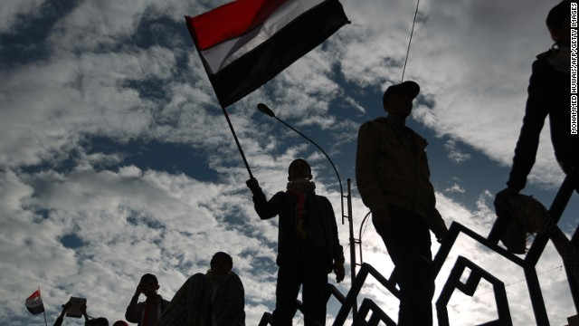 Anti-government protesters mark the third uprising anniversary in Sanaa on February 11, 2014.