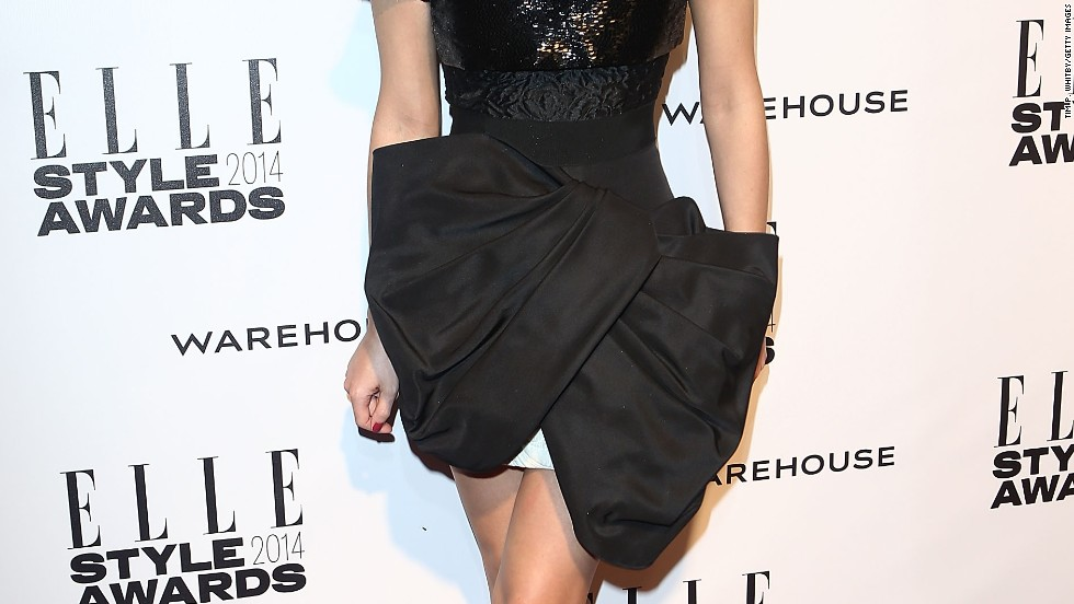 Emma Watson's style is all wrapped up at the 2014 Elle Style Awards on February 18.