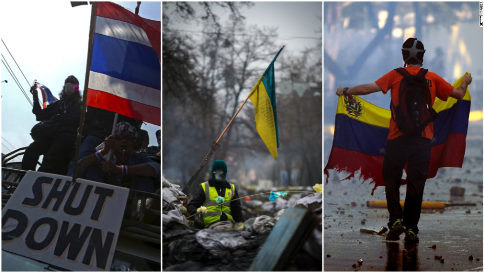 Dramatic scenes are unfolding during chaotic anti-government protests in Thailand, Ukraine and Venezuela this week. Here is an on-the-ground look at the protests in these countries.