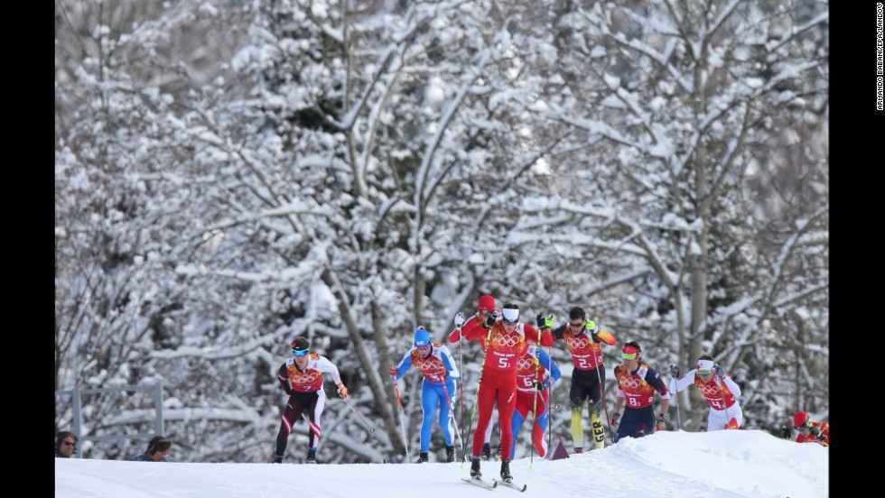 Cross-country skier Dario Cologna of Switzerland leads the pack during the men's team sprint on February 19.