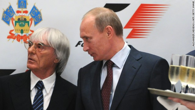 Russian Prime Minister Vladimir Putin (R) and Formula One racing director Bernie Ecclestone talk during a ceremony of signing of an agreement to bring Formula One racing to Sochi for a Grand Prix Russia to be held in 2014, the same year the Black Sea resort hosts the Winter Olympics in Sochi on October 14, 2010. Putin, whose backing was crucial in Sochi winning the right to host the Games, is due in the city on Thursday to sign an agreement for work to begin on the construction of a new 200 million dollar circuit. AFP PHOTO/ ALEXANDER NEMENOV (Photo credit should read ALEXANDER NEMENOV/AFP/Getty Images)