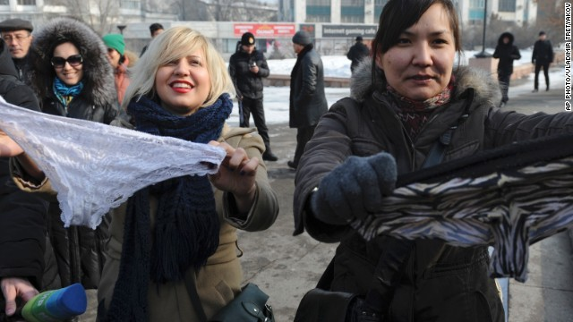Women in Almaty protest against the ban of lace underwear in Russia and its economic allies.