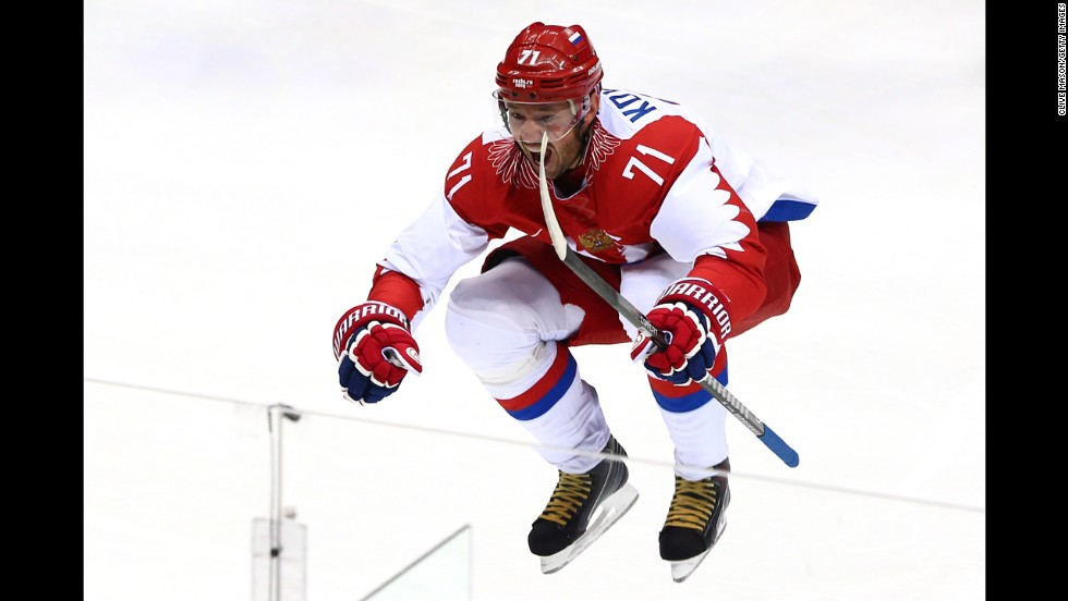 Russia's Ilya Kovalchuk celebrates after scoring a first-period goal against Finland.