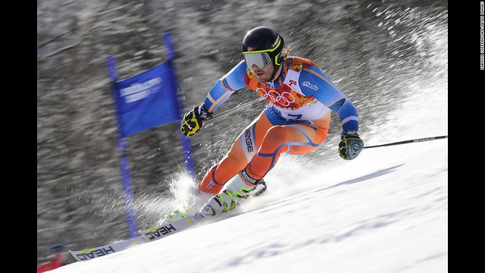 Norway's Kjetil Jansrud competes in the men's giant slalom on February 19.