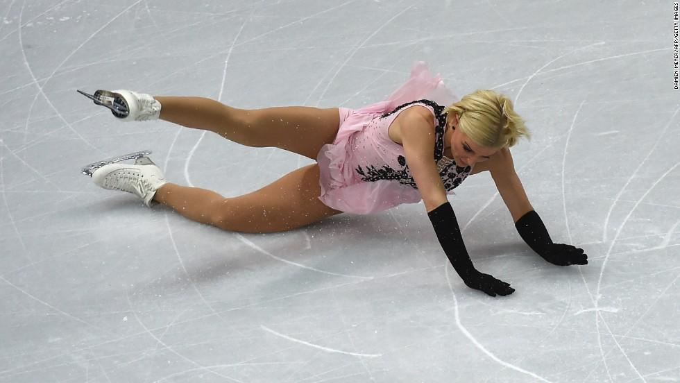 Swedish figure skater Viktoria Helgesson falls during her short program on February 19.