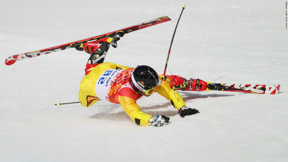 Antonio Ristevski of Macedonia falls during the men's giant slalom on February 19.