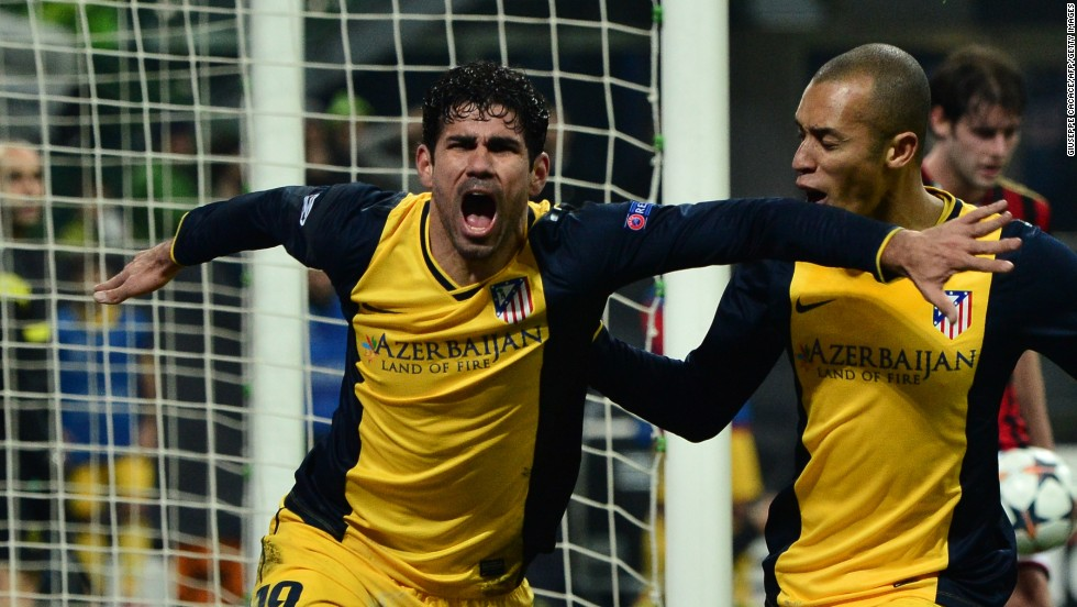 Diego Costa headed home an 83rd minute winner as Atletico Madrid claimed a 1-0 victory at AC Milan.