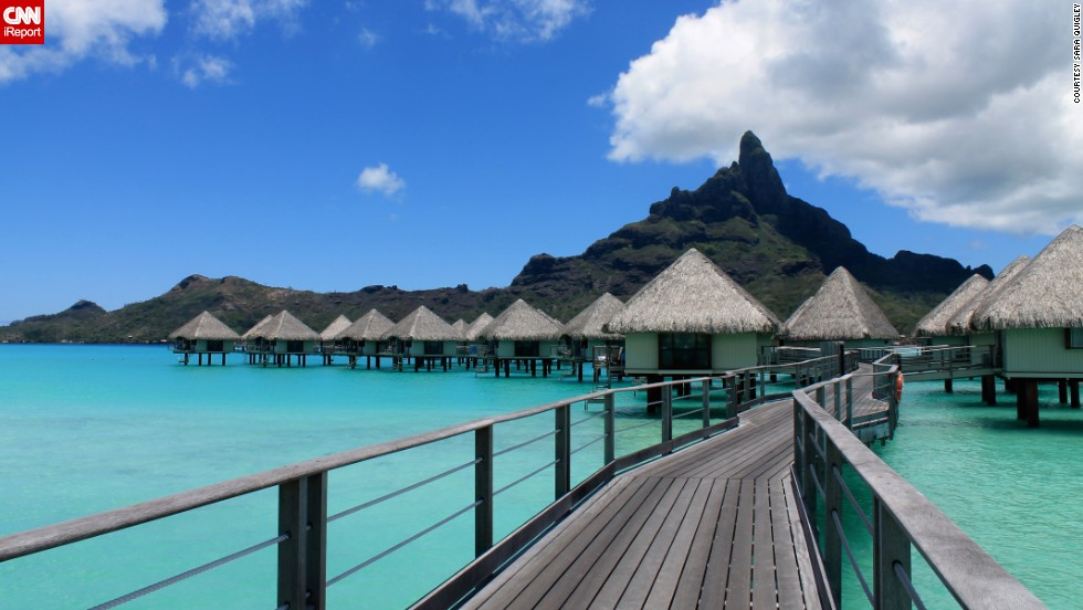 "Bora Bora is known for luxury, ""but what many do not know is that Bora Bora is incredibly rustic amongst the glitz and the glamor,"" wrote <a href=""http://ireport.cnn.com/docs/DOC-1085327 "">Sara Quigley</a>, who honeymooned there last year."