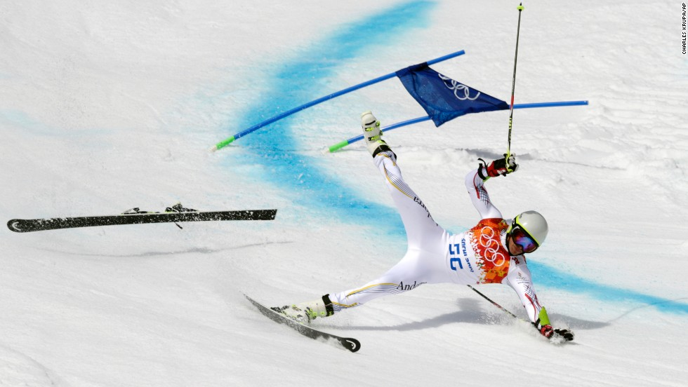 "Joan Verdu Sanchez of Andorra <a href=""http://www.cnn.com/2014/02/08/worldsport/gallery/falling-down-in-sochi/index.html"">crashes in the first run</a> of the men's giant slalom during the Winter Olympics in Sochi, Russia, on February 19."
