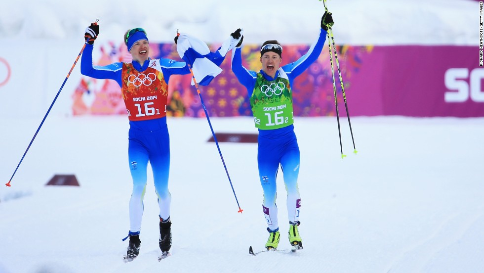 Finland won its first gold of the Sochi Games as Sami Jauhojaervi (R) and Iivo Niskanen triumphed in the men's cross country team sprint.