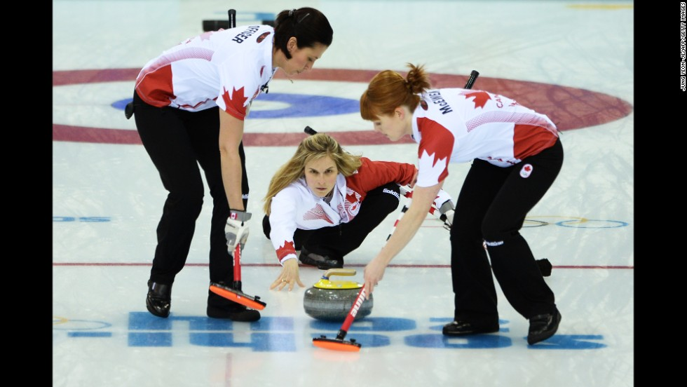 Canada's Jennifer Jones throws the curling stone during the gold-medal match against Sweden on February 20.