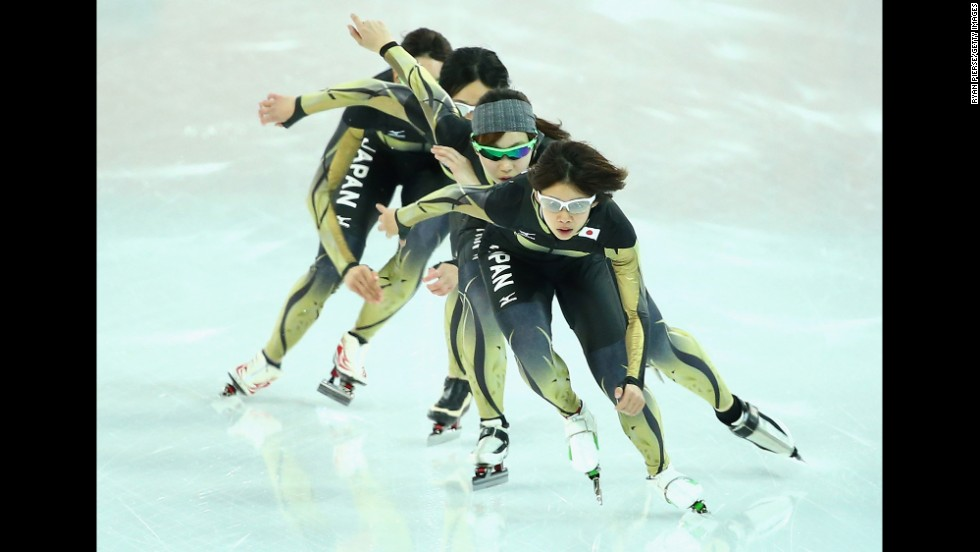 Japanese speedskaters train on February 20.