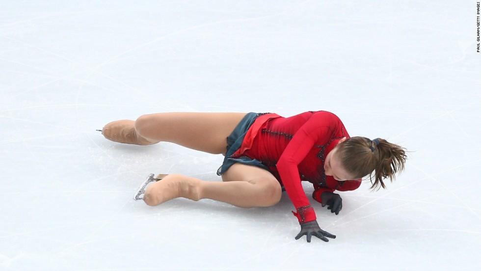 Russian figure skater Julia Lipnitskaia falls on February 20.