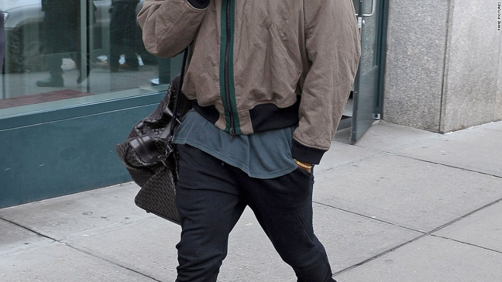 A neutral (loving) Kanye West in New York on February 20.