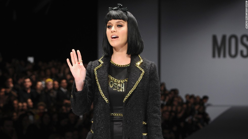 Katy Perry added a certain celebrity chic to the Moschino show during Milan Fashion Week on February 20.