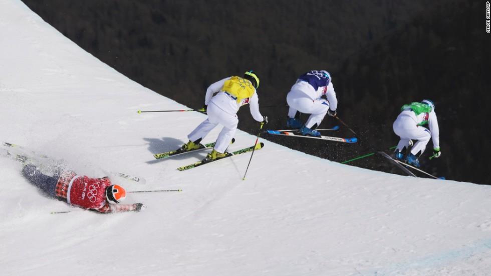 Canada's Brady Leman crashes in the men's ski cross final on February 20.