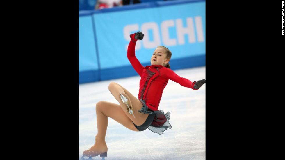 Russian figure skater Julia Lipnitskaia falls as she performs her free skate on February 20.