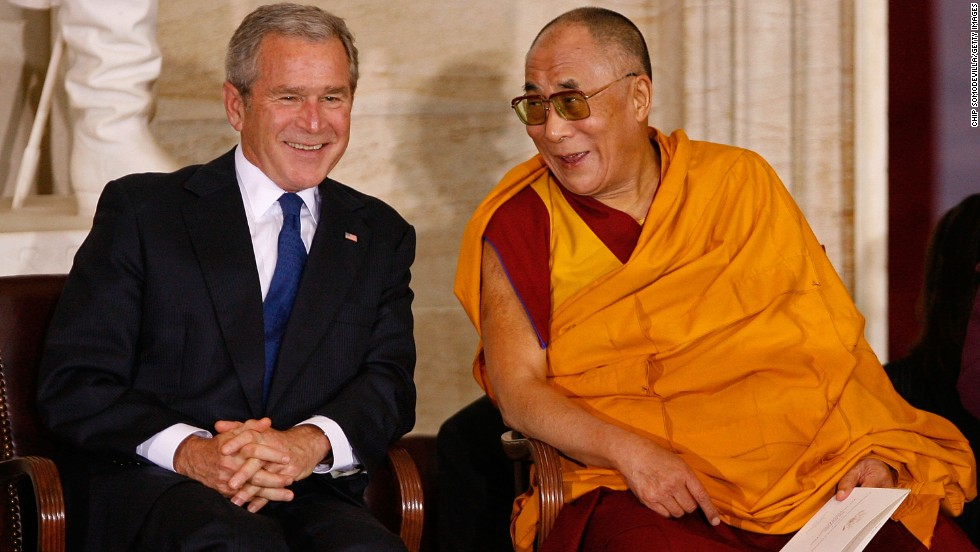 President George W. Bush meets with the Dalai Lama before the Tibetan spiritual leader received the Congressional Gold Medal in October 2007.