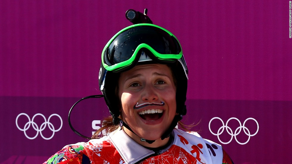 The athletes also helped -- snowboard cross winner Eva Samkova provided insight into her sport by wearing a camera on her helmet. The painted mustache apparently brings her good luck  -- well, it certainly worked this time.
