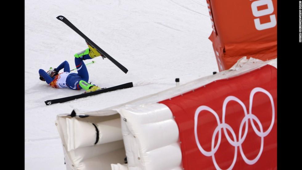 Slovakia's Barbora Lukacova falls during the women's slalom on February 21.