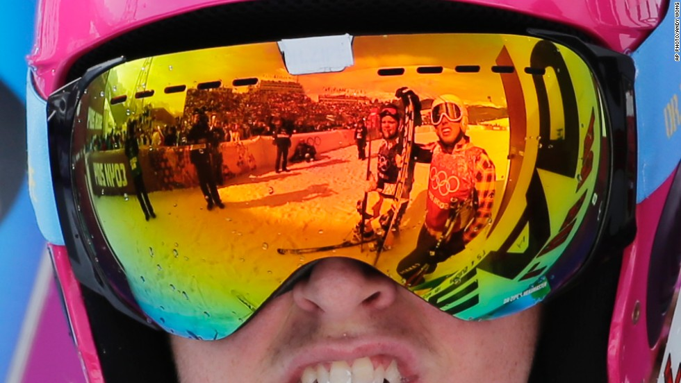 Can you spot the photographer? Sweden's John Eklund might not have made it onto the podium, but his reflective goggles caught some attention in the Rosa Khutor Extreme Park.
