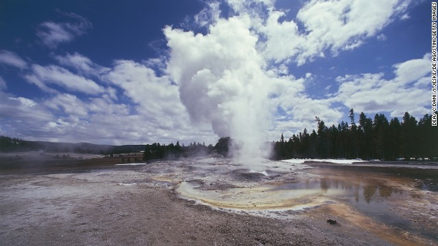 UNSPECIFIED - DECEMBER 16:  USA, Wyoming, Yellowstone National Park (UNESCO World Heritage List, 1976). Region of geysers, Castle Geyser  (Photo by DEA/ C.DANI /I.JESKE/De Agostini/Getty Images)