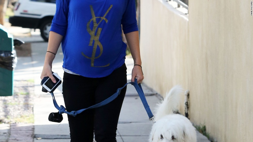 Soon-to-be mom Olivia Wilde takes her fur kid out for a walk on February 20.