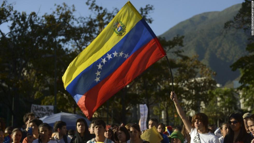 Manifestaciones en Caracas el 21 de febrero.