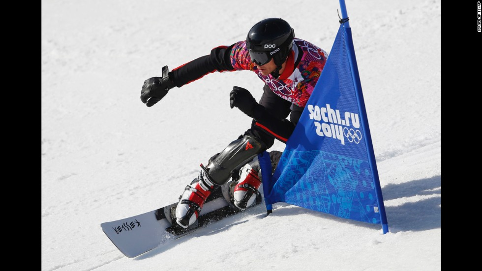 Bulgaria's Radoslav Yankov competes during snowboard parallel slalom qualifying on February 22.