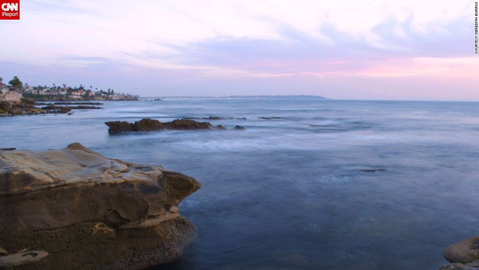"<a href=""http://ireport.cnn.com/docs/DOC-1093990"">Meredith Burrus</a> photographed the pastel colored sky over the calm waters of La Jolla, California, in February 2014. She says this spot is off the beaten path. ""Only a few people seem to know about this place and I'm always able to capture amazing sunsets here no matter what time of year it is,"" she said."