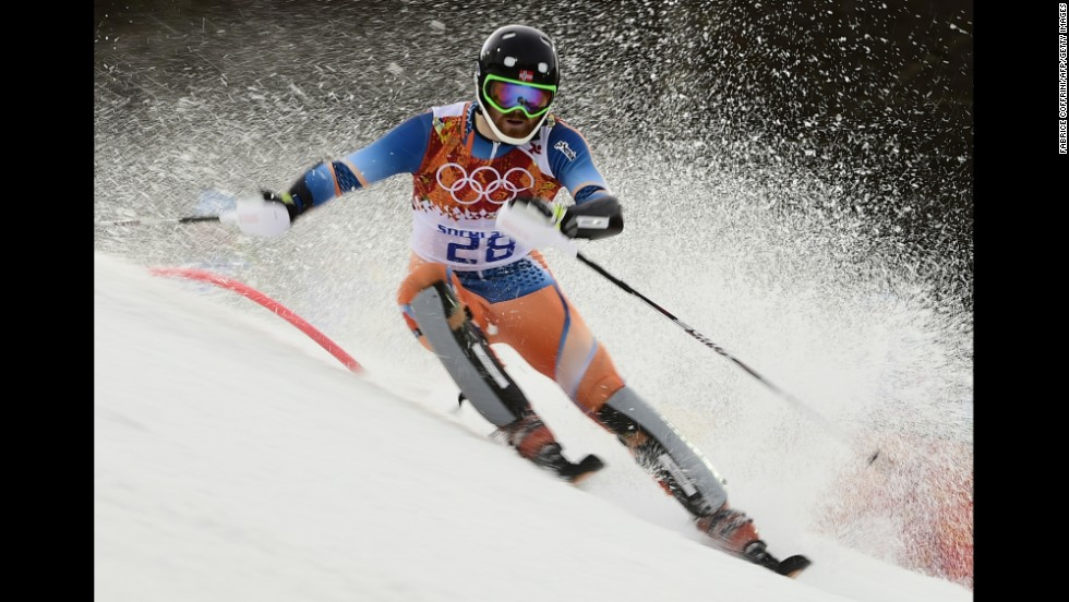 Norway's Leif Kristian Haugen competes during the men's alpine skiing slalom run on February 22.