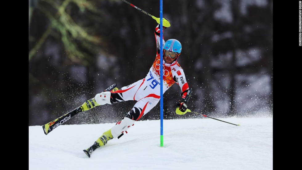 Emre Simsek of Turkey wipes out during the first run during the men's slalom on February 22.