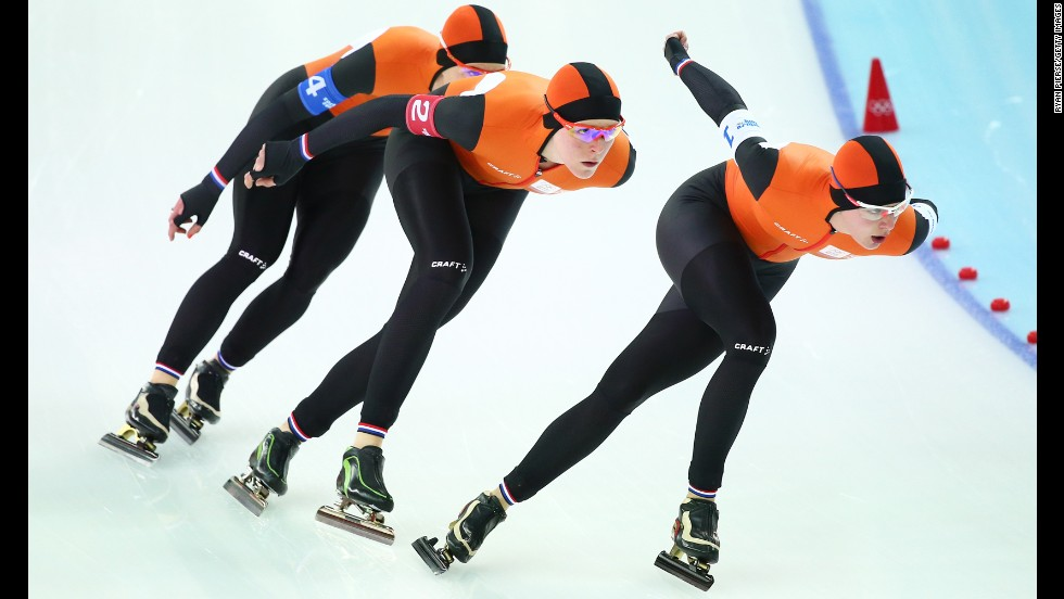Ireen Wust, Jorien ter Mors and Marrit Leenstra of the Netherlands compete during the semifinals of the women's team pursuit speed skating on February 22.