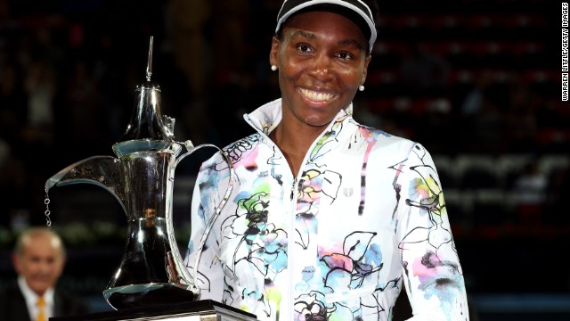 Venus Williams was all smiles after winning her third title in Dubai on Saturday.