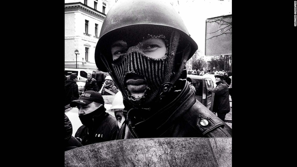 "KIEV, UKRAINE:  ""Anti-government demonstrator in makeshift riot gear (February 22), a member of several protection units set up by the organizers of the occupation of Maidan Square."" - CNN's Christian Streib.  Follow Christian on Instagram at <a href=""http://instagram.com/christianstreibcnn"" target=""_blank"">instagram.com/christianstreibcnn</a>."