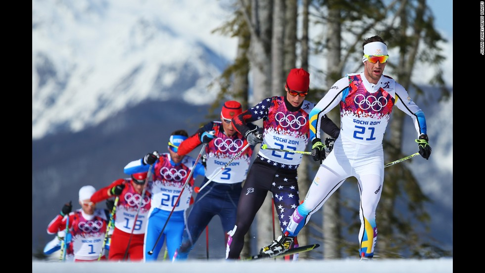Anders Soedergren of Sweden leads the pack in the men's 50-kilometer mass start free on February 23.