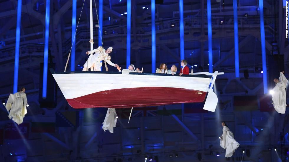 A boat floats through the air.