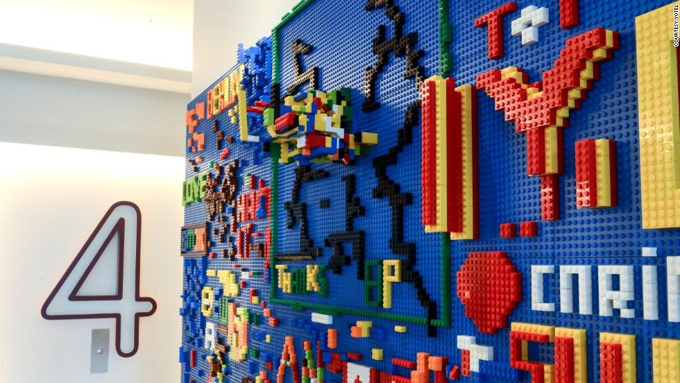At New York's Yotel, the pièce de résistance is its recently unveiled Lego wall. The 30-foot long lobby wall includes thousands of colorful bricks, building blocks for guests' next masterpieces.