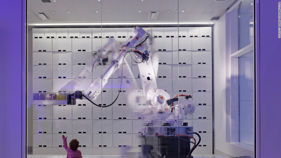 Luggage storage at Yotel is manned by a mechanical robot, programmed to collect suitcases and backpacks and stuff them into their assigned lockers.