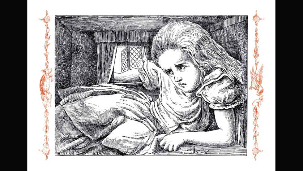 "This illustration from ""Alice in Wonderland"" show's Alice after she eats a piece of cake and  increases in size."