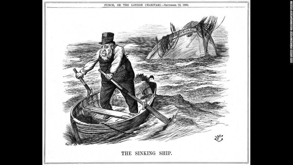 """""""The Pilgrim's Rest"""" depicts South African politician Paul Kruger rowing away from the sinking ship representing the Transvaal. Kruger moved to the Netherlands after being too old and sickly to fight in the second Boer War, which ended with a British victory and the annexation of both independent South African republics by the British Empire"""