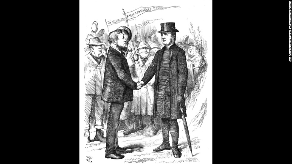 This cartoon from Punch portrays Joseph Arch greeting the Bishop of Manchester, who supported Arch's National Union of Farm Labourers in a letter to The Times.