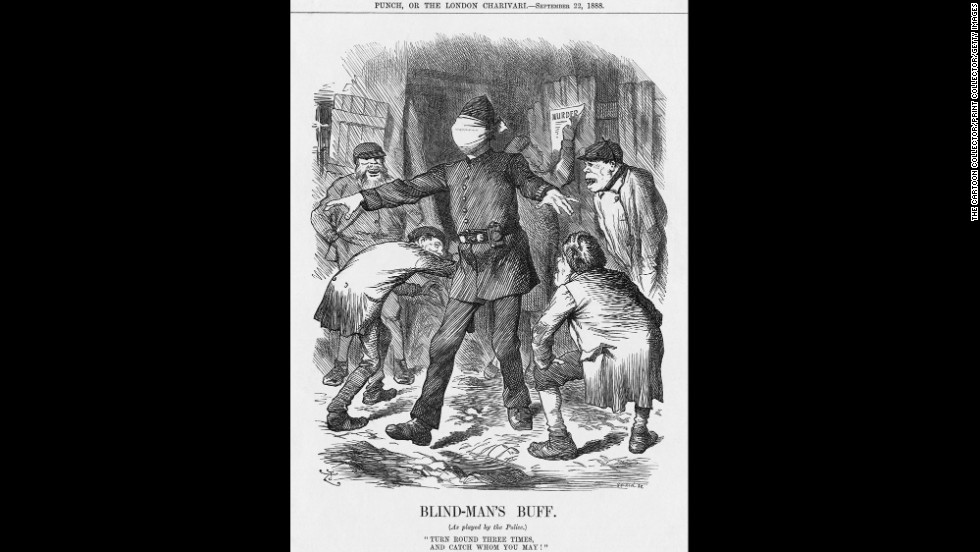"In ""Blind-Man's Buff"" Tenniel depicts the inability of the police to capture criminals.  1888 was the year of Jack the Ripper and police inability to catch him led to unflattering coverage in the press."