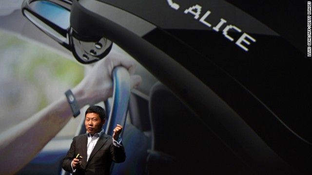 Huawei CEO Richard Yu presents the Talkband B1 ahead of the Mobile World Congress in Barcelona.