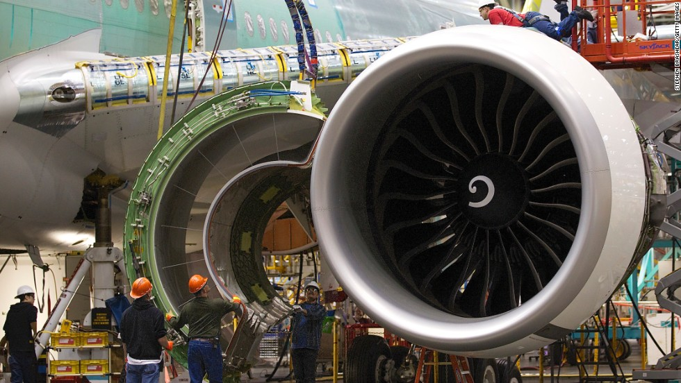"Then, engines are attached to the wings. Airliners are able to fly long distances around the globe with only two engines thanks to gigantic, efficient power plants like the 777's <a href=""http://www.geaviation.com/engines/commercial/ge90/ge90-115b.html"" target=""_blank"">GE90-115B</a>, described by Guinness as the world's most powerful commercial jet engine."