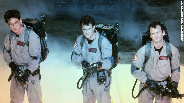 "Harold Ramis, Dan Aykroyd, and Bill Murray in the 1984 film ""Ghostbusters."""