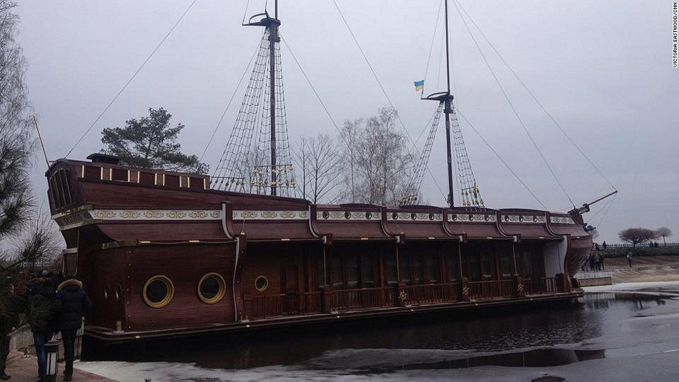 A CNN crew toured the grounds on Sunday, February 23 and took these images around the residence. Here, a galleon-style ship that was used for parties is docked at a marina near the house.