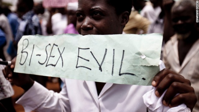 Photo taken on February 14, 2010 shows Ugandans taking part in an anti-gay demonstrationy at Jinja, Kampala.